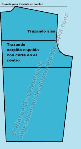 Patrón corpiño espalda con corte en el centro sin pinza vertical