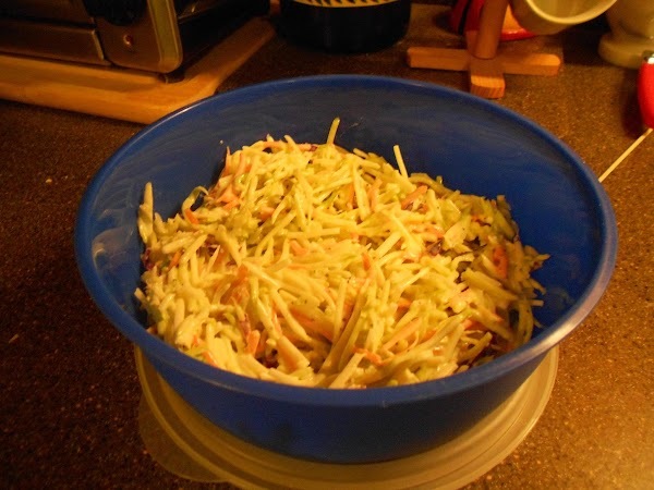 Add mayonnaise mixture to slaw mix stir with tongs or 2 forks until blended...
