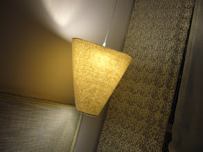 Photo: Master Bedroom - Bedside Lamp & Lace Panel Blind Curtain