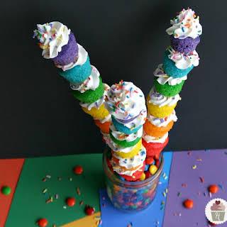 Mini Rainbow Cupcakes.