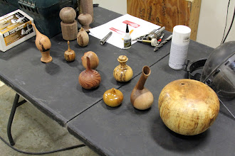 Photo: Clif Poodry brought in a number of examples of pieces done using the hollowing technique he will be demonstrating tonight.