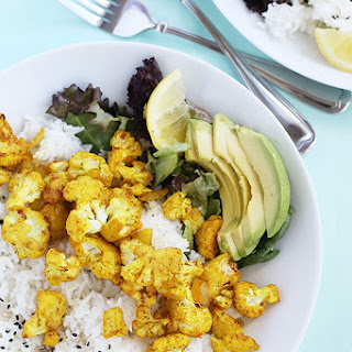 Curry Roasted Cauliflower over Rice