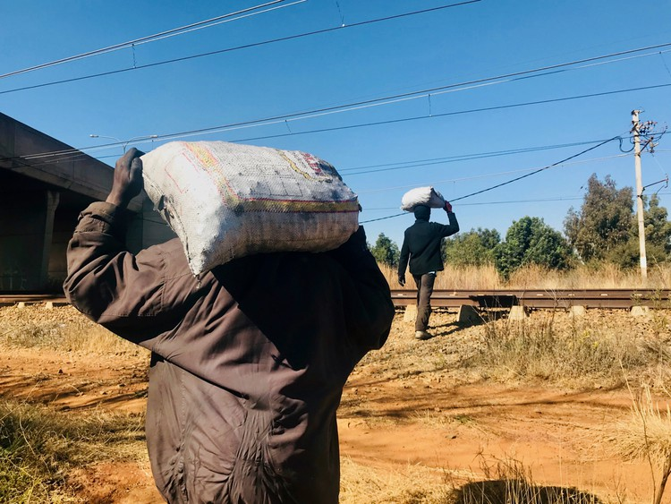 Unemployed scramble to scavenge for coal on railway line in Gauteng