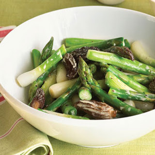 Asparagus, Spring Onion, and Morel Mushroom Sauté