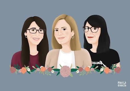 Autorretrato de ilustradora, junto a su madre y hermana.
