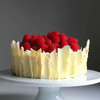 Lemon Raspberry Sponge Cake with White Chocolate Shards.