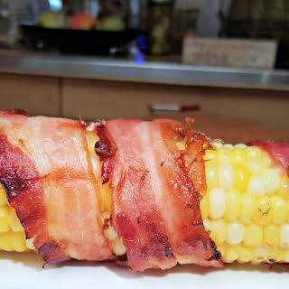 Bacon Wrapped Corn On The Cob.