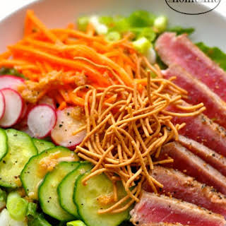 Seared Ahi Tuna Salad with Ginger Dressing.