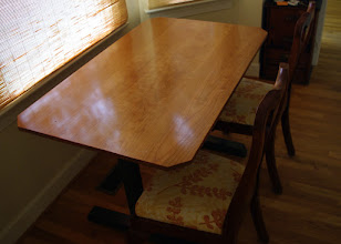 """Photo: The original plans for this table called for a bigger top (72""""X32"""") and a correspondingly longer base, but my client needed something in the 4 foot range, so I scaled down the plans."""