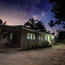 milkyway over a village house by Shahrin Ayob - Buildings & Architecture Decaying & Abandoned ( sky, starry, night, village, temerloh )
