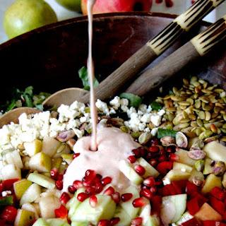 Pomegranate, Pear, Pistachio Salad with Creamy Pomegranate Dressing.