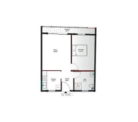 Location appartement 2 pièces 43,79 m2