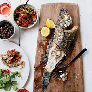 Grilled Fish with Tapenade and Smoky Ratatouille.