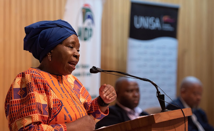 Minister Nkosazana Dlamini-Zuma delivering the 4th Annual National Development Plan (NDP) Lecture at the University of South Africa (UNISA) on 4 October 2018. Picture: GCIS
