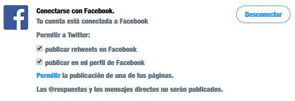 Conectar tu perfil de twitter con una página de Facebook