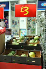 Photo: Lara spotted these watermelons on offer just outside the entrance to ASDA.  She said they reminded her of the market in the South of France were we were on holiday recently.