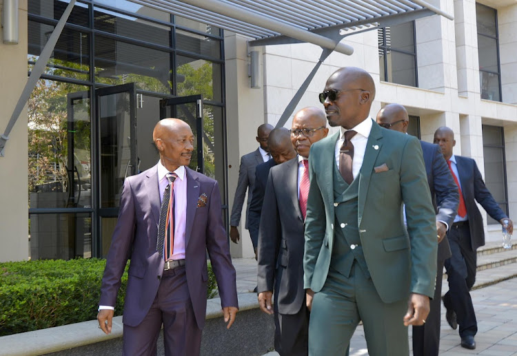 Finance Minister Malusi Gigaba (right), Deputy Finance Minister Sifiso Buthelezi and South African Revenue Service Commissioner Tom Moyane (left).