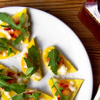 Polenta Triangles with Goat's Cheese, Chilli Jam & Rocket