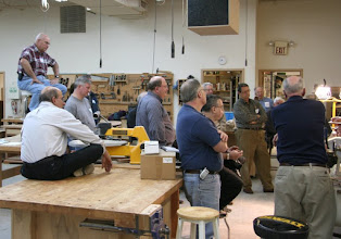 Photo: We have a good turnout tonight at our hosting facility the Woodworkers Club in Rockville MD, whose owners we thank for graciously offering us their space.  Bob Browning has created his own bleacher seat!