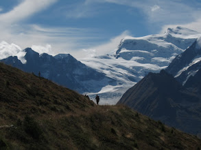 Photo: ... and, of course, hikers. Road gives way to trail here, with views of the impressive Glacier de Corbassiere.