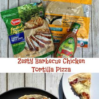 Zesty Barbecue Chicken Tortilla Pizza