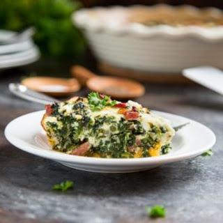 Crustless Spinach Quiche with Ham.