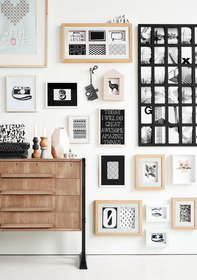 colagem de fotos para decoração de parede de casa