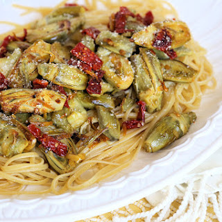 Baby Artichoke Recipe over Linguine with Sun-dried Tomatoes, Garlic, and Lemon