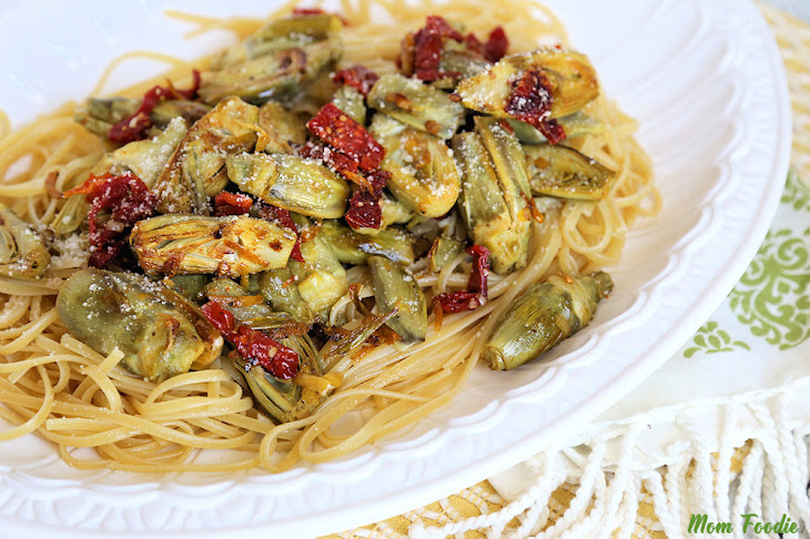 Baby Artichoke Recipe over Linguine with Sun-dried Tomatoes, Garlic ...