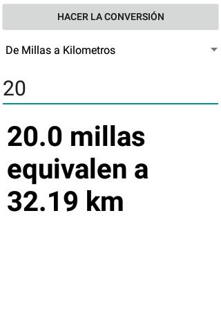 Conversor de Millas a Kilometros screenshot 3