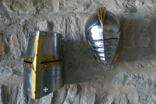 tallinn-knight-armor-helmets.jpg - Don't you love these armor helmets? Seen in the Kiek in de Kök Fortification Museum.