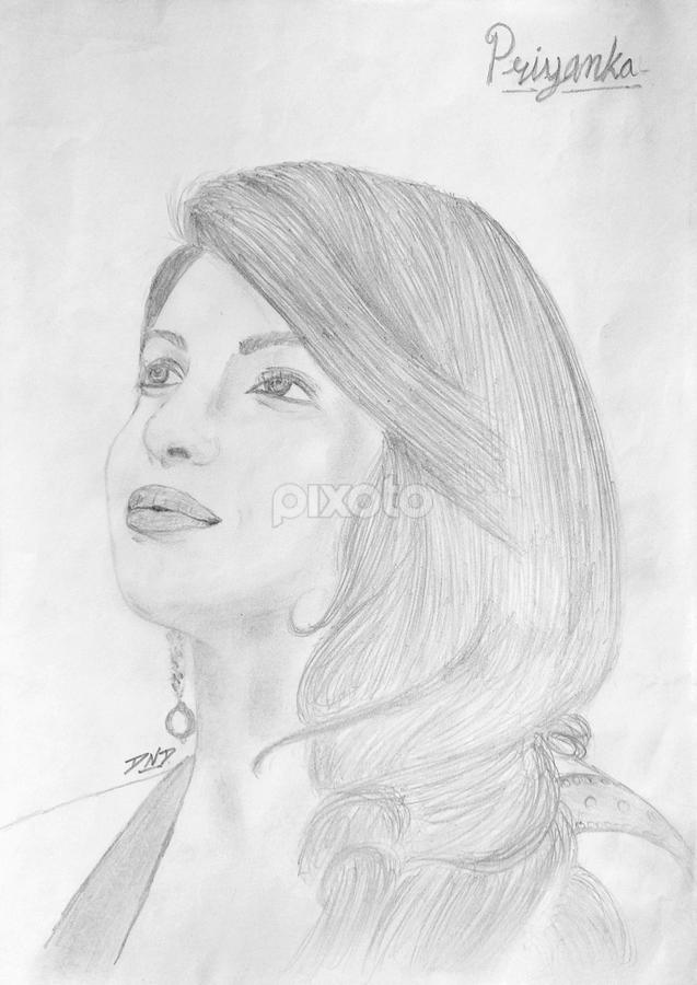 Priyanka Chopra Portrait Sketch All Drawing Drawing Pixoto