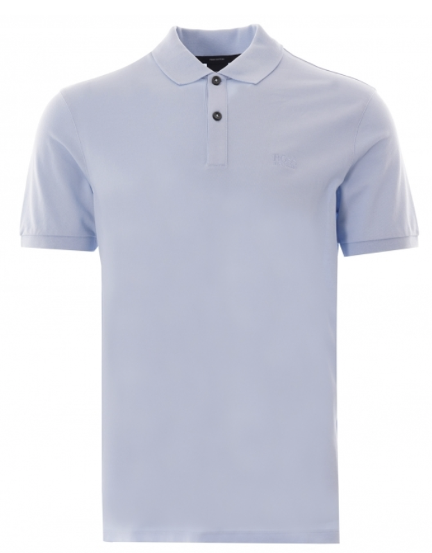 A person in a blue shirt  Description automatically generated