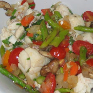 White Fish, Scallops and Vegetables
