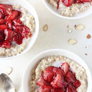 Roasted Strawberries and Cream Steel Cut Oatmeal