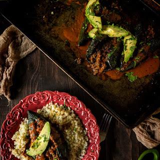Enchilada Stuffed Smoked Pablanos.