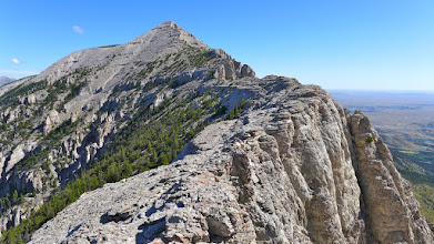 Photo: Atticus (near center of photo) on the ridge to the false summit