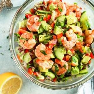 Shrimp Avocado Cucumber Salad.