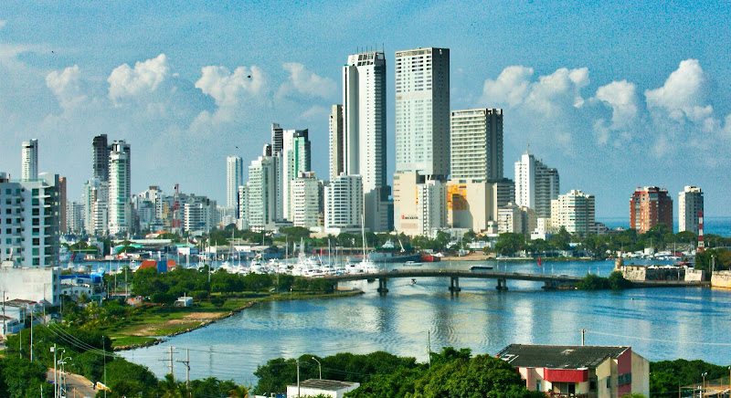 The skyline of Cartagena, Colombia.