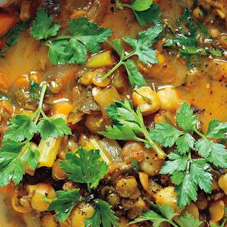 Spiced Moroccan Vegetable Soup with Chickpeas, Cilantro, and Lemon (Harira).