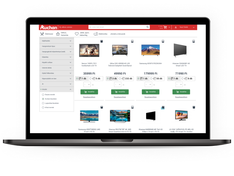Egyedi webfejlesztés - eladói portál a bolti értékesítés támogatására az Auchan számára