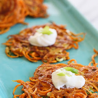 Spiralized Sweet Potato Latkes Recipe