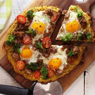 Paleo and Gluten-Free Breakfast Pizza.