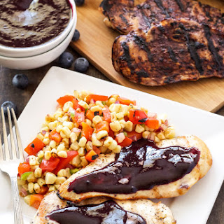Grilled Chicken with Blueberry Barbecue Sauce and Corn Salsa