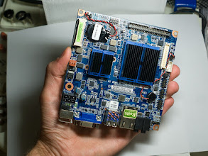 Photo: The front of my motherboard, what a tiny thing it is. 12cm by 12cm, everything you need.