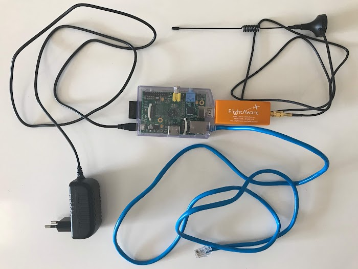 Raspberry Pi Model B with FlightAware Pro Stick USB ADS-B Receiver
