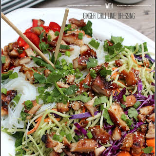Chopped Asian Chicken Salad with Ginger Chili Lime Dressing.