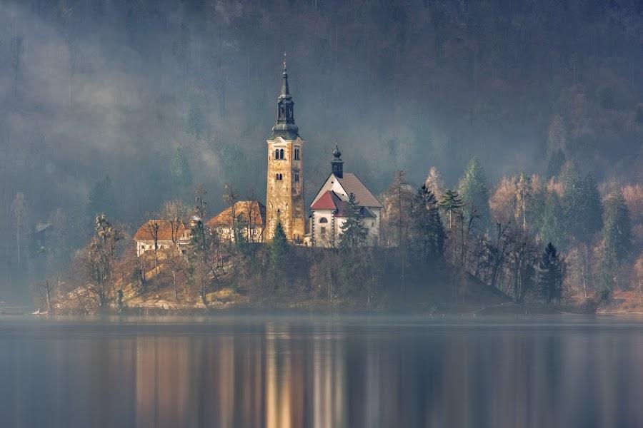 Slovenian Pearl by Bojan Bilas - City,  Street & Park  Vistas ( slovenia, color, reflection, city, nature, bled, fine art, long exposure, scenic, misty, idylic, mist, beautiful, lakeside, urban exploration, waterscape, moody, travel, europe, lake, landscape, architecture, fog )