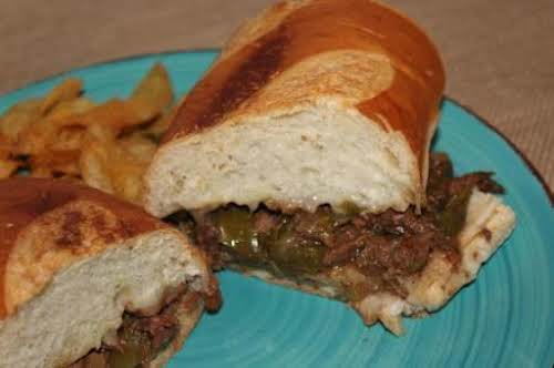 "Our Family Crock Pot Philly Cheesesteak Sandwiches ""The meat is very tender and..."