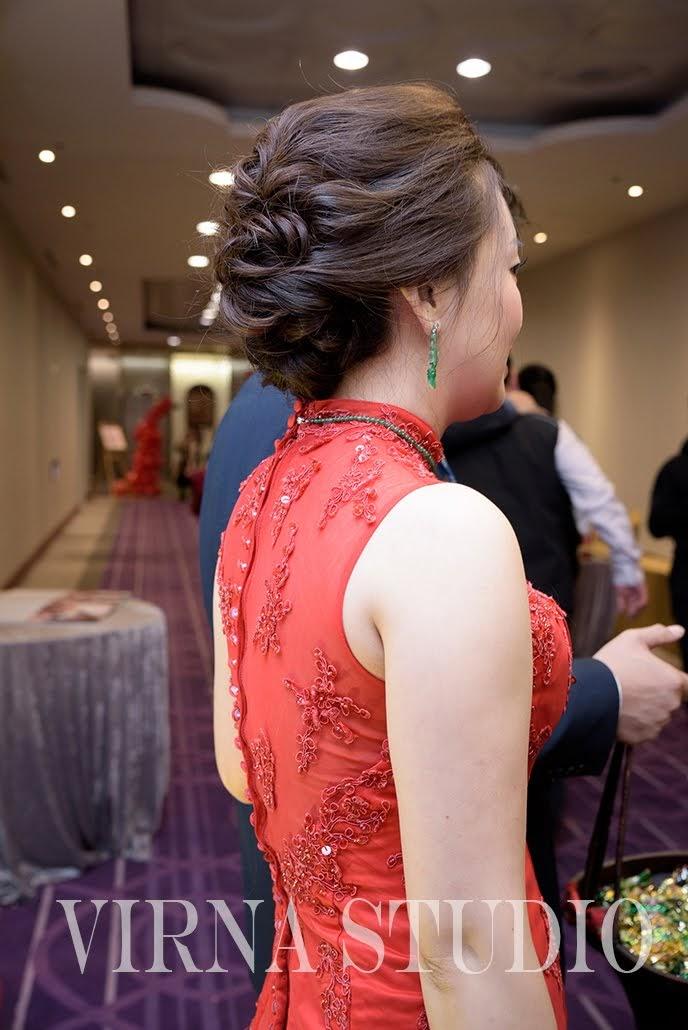 bride,新娘,台北新娘秘書,台北新秘,氣質盤髮,紅色魚尾禮服,新秘推薦,天成飯店信義
